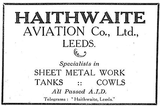 Haithwaite Aviation Co - Sheet Metal Work. 10, Alfred St, Leeds