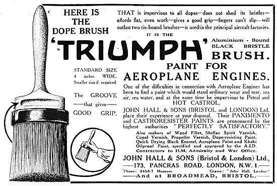 John Hall & Sons. Hall's TRIUMPH Dope Brush Advert 1917