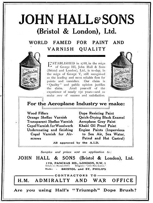 John Hall & Sons. Halls Aeroplane Varnishes Advert 1917