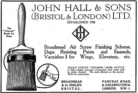 John Hall & Sons:  Airscrew Finishing Scheme. Dopes & Enamels