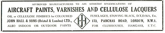 John Hall & Sons - Aircraft Paints, Varnishes & Cellulose