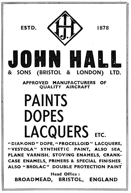 Halls Aircraft Finishes. Paints, Dopes & Lacquers