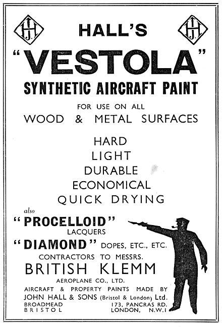 Halls Aircraft Paints & Finishes. Hall's Vestola 1934