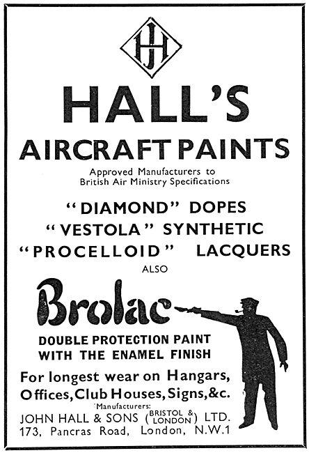 Halls Aircraft Paints & Finishes. Hall's Vestola & Diamond Dopes