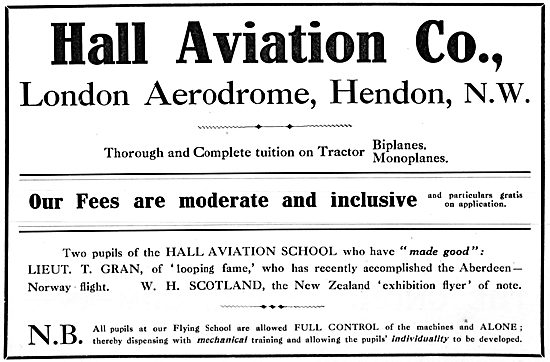 Hall School Of Flying - Hendon 1914