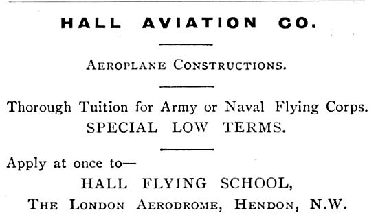 Hall School Of Flying - Hall Aviation Co. hendon