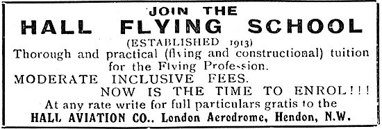 Join The Hall School Of Flying At Hendon - Established 1913