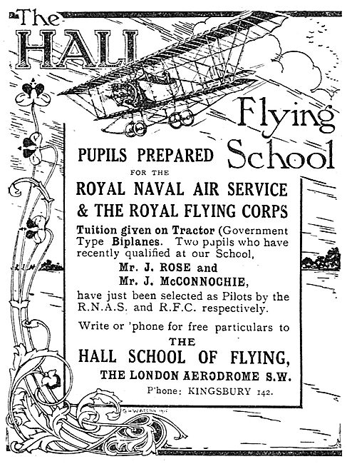 Hall School Of Flying Hendon. RNAS & RFC Training