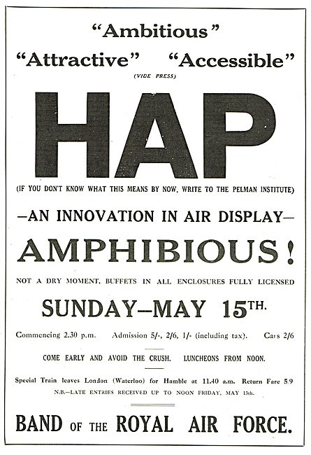 Hampshire Aeroplane Club Air Pageant  May 1927