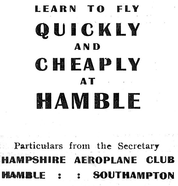 The Hampshire Aeroplane Club. Hamble,Southampton 1931