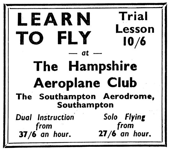 The Hampshire Aeroplane Club, Southampton 1933