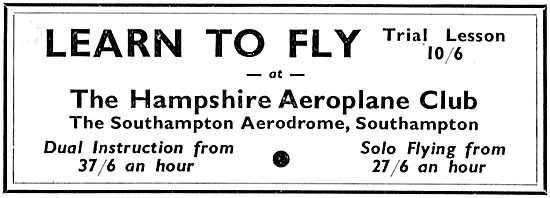 The Hampshire Aeroplane Club. Southampton Aerodrome