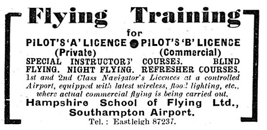 The Hampshire School Of Flying. Southampton