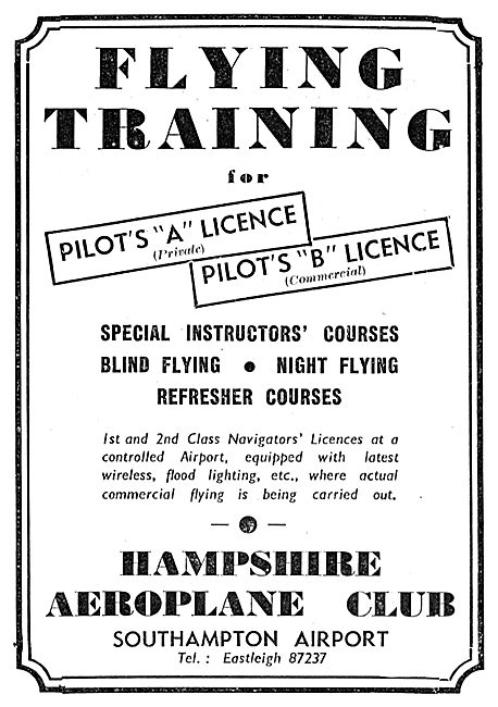 The Hampshire Aeroplane Club, Southampton