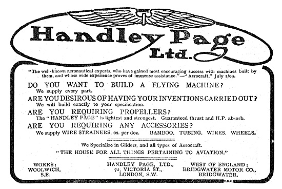 Handley Page Services For Aviators, Inventors & Constructors