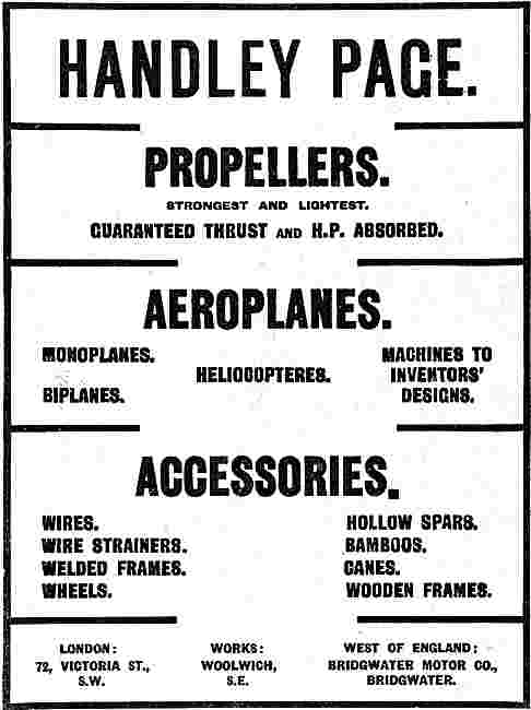 Handley Page Aeroplanes & Propellers