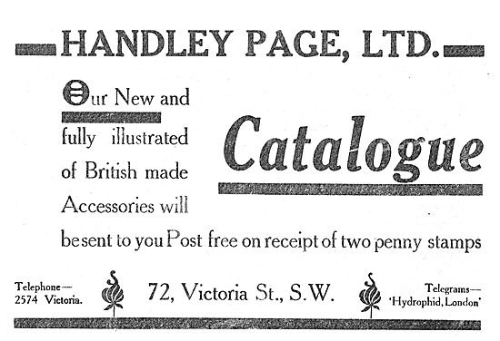 Send For The New Illustrated Handley Page Aircraft Parts Catalogu
