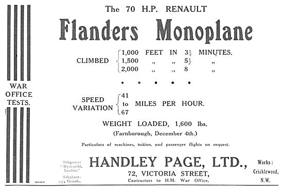 Handley Page 70hp Renault Flanders Monoplane