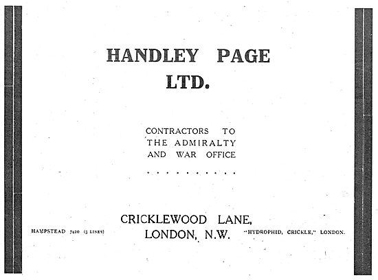 Handley Page - Aeronautical Engineers. Government Contractors