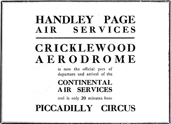 Handley Page Air Services Cricklewood 1920