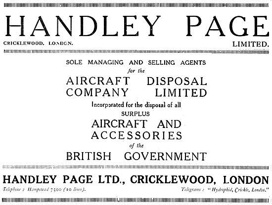 Handley Page Aircraft Disposal Company 1920