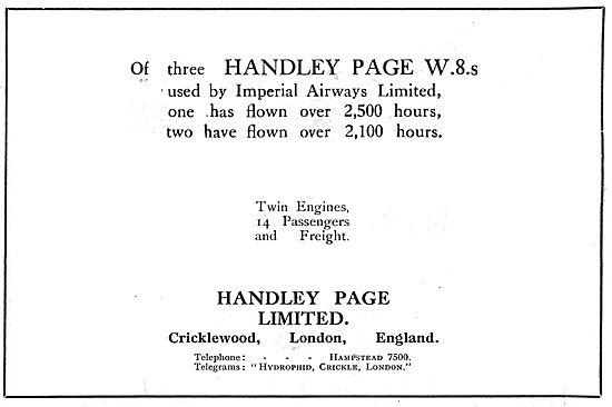 Handley Page W8 Imperial Airways Flight Statstics