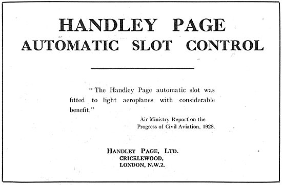Handley Page Automatic Slot Control Testimonial - Air Ministry