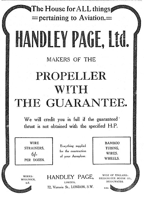 Handley Page Makers Of Aeroplane Propellers With A Guarantee