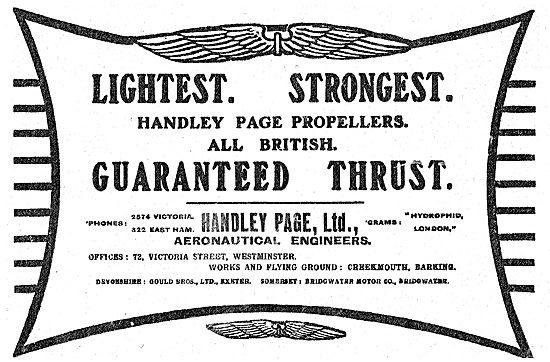 Handley Page British Aeroplane Propellers - Guaranteed Thrust