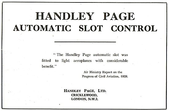 Handley Page Automatic Slot Control: Air Ministry Report