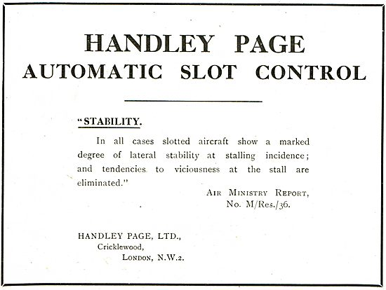 Handley Page Automatic Slot Control: Air Ministry Report M/Res/36