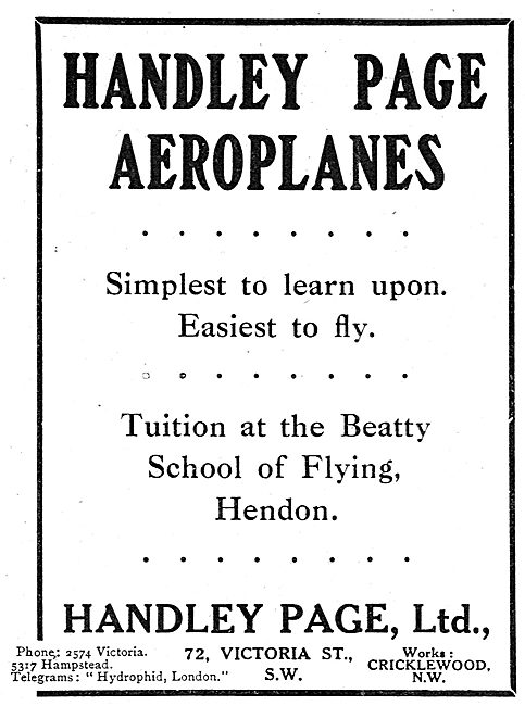Handley Page Aeroplanes - Tuition At The Beatty School Hendon