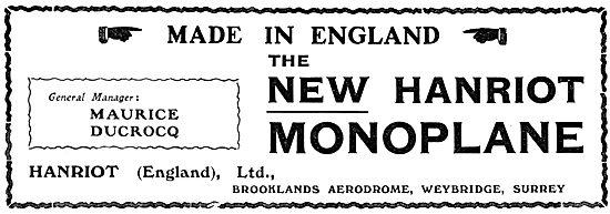 Hanriot Monoplanes England - Maurice Ducrocq