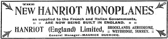 Hanriot Monoplanes Are Now Being Built In Britain