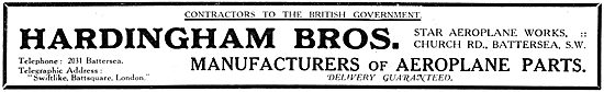 Hardingham Bros. WW1 Battersea - Manufacturers Of Aeroplane Parts