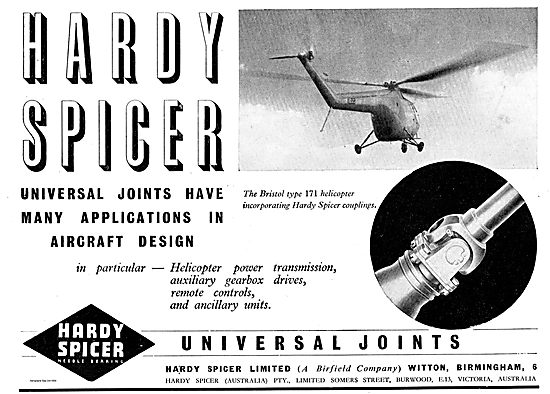 Hardy Spicer Universal Joints On The Bristol Type 171 Helicopter