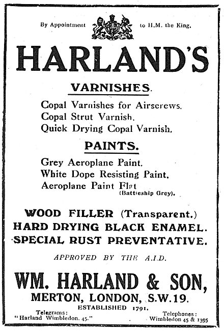 Harlands Varnishes & Enamels For Aircraft