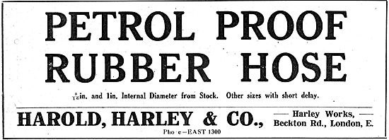 Harold Harley & Co. Petrol Proof Rubber Hose For Aeroplanes