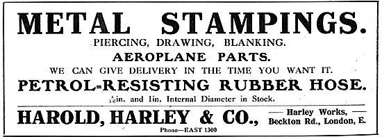 Harold Harley & Co. Beckton Rd. Aeroplane Metal Stamping