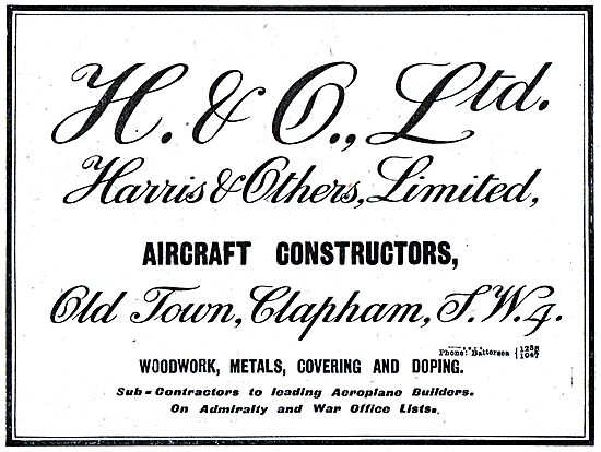 Harris & Others Ltd. Battersea. Aeronautical Engineers