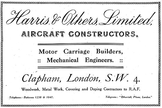 Harris & Others Ltd. -  Aeronautical Engineers. 1918 Advert