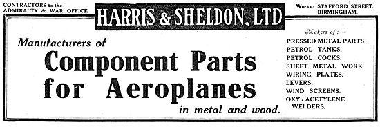 Harris & Sheldon. Birmingham - Wood & Metal parts For Aeroplanes