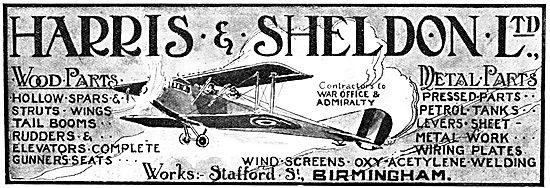 Harris & Sheldon. 1917 - Wood & Metal parts For Aeroplanes