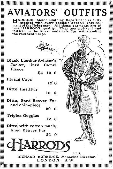 Harrods Aviators Outfits.Coats, Caps & Triplex Goggles