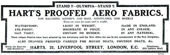 Harts Proofed Aero Fabrics For Balloons, Airships & Aeroplanes