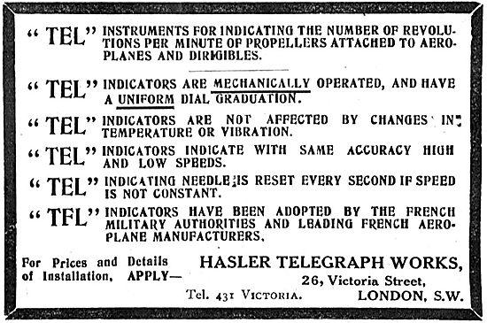Hasler Telegraph Works Engine Instruments For Aeroplanes
