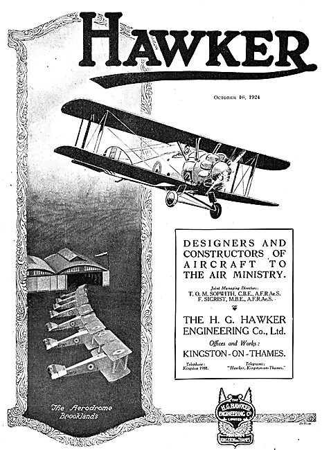 Hawker Designers And Constructors Of Aircraft