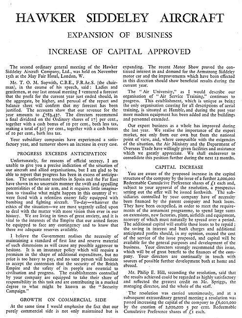 Hawker Siddeley Expansion Of Business - 1937 Capital Increase