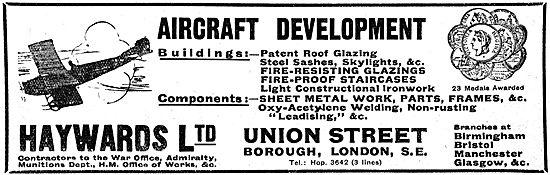 Haywards Ltd - Builders & Engineers WW1 Advert