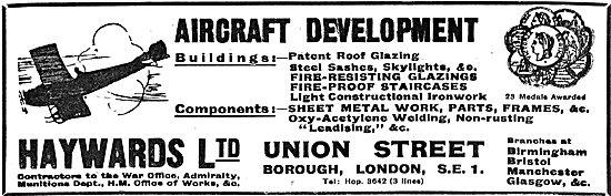 Haywards - Factory & Hangar Builders. General Engineers